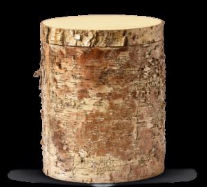 Holzurne mit Birkenrinde