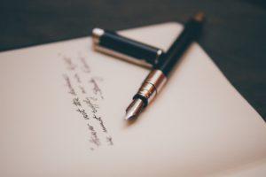 Trauerhilfe und Trauerbewältigung: Handgeschriebene Kondolenzkarte