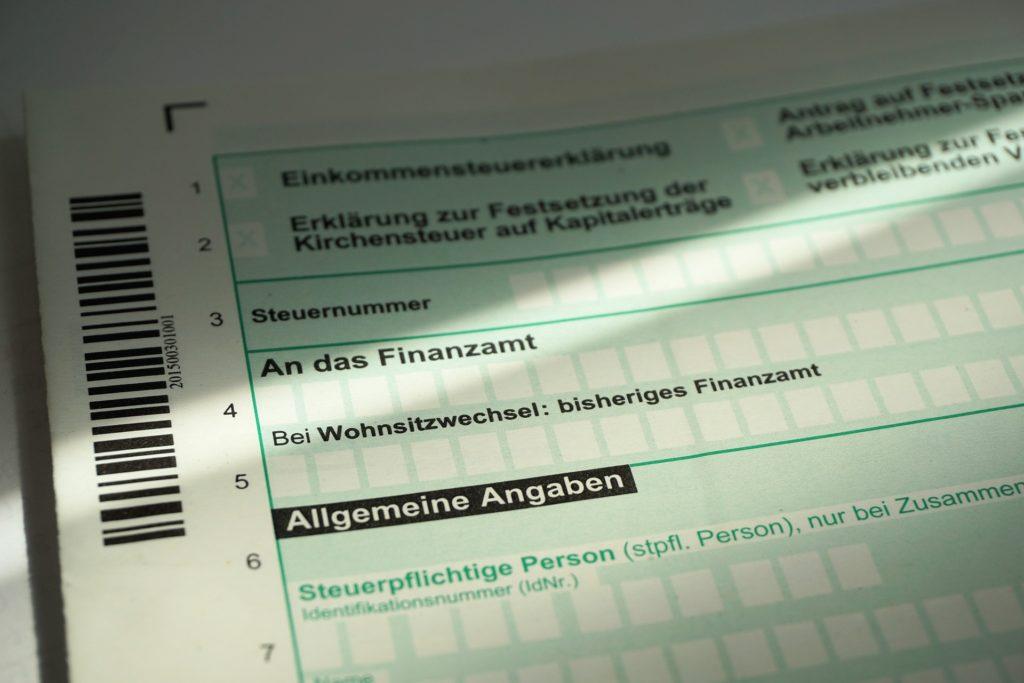 Beerdigungskosten von der Steuer absetzen, Vordruck für eine Steuererklärung