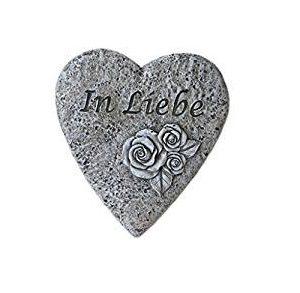 """Grabschmuck: Herzförmiger Stein mit Aufschrift """"In Liebe"""""""