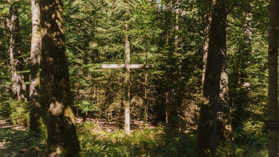 Ein Kreuz weist das Areal als Friedhof aus | Quelle: FriedWald Lüneburger Heide