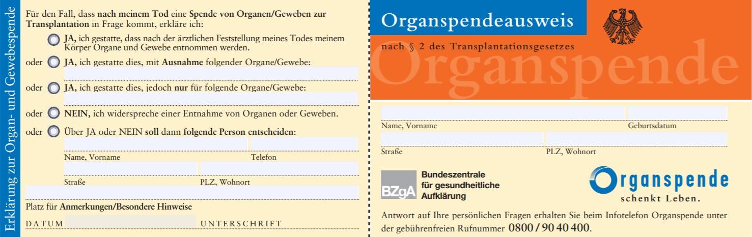 Organspendeausweis der BZgA